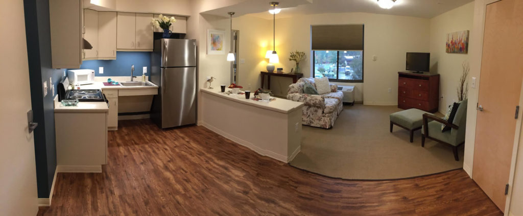 Wide Angle view of an apartment at Cedar Lane Senior Living Community
