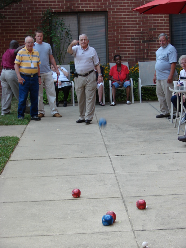 Playing Boules at Cedar Lane Senior Living Community