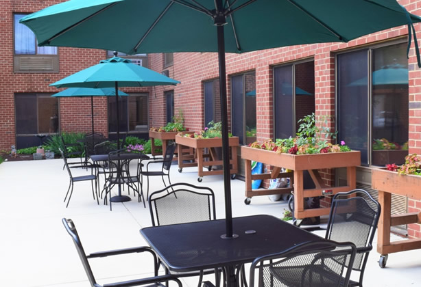 Outdoor Patio at Cedar Lane Senior Living Community