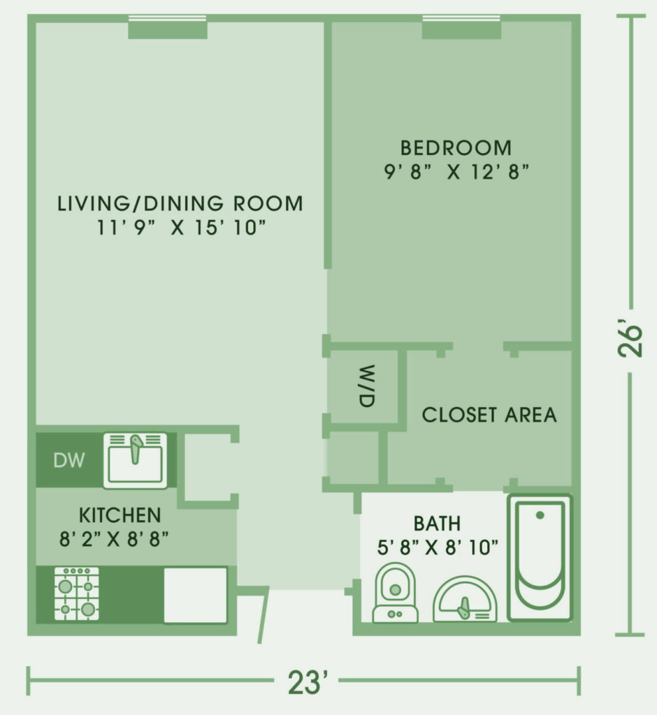 One bedroom Colton WeinbergBuilding at Cedar Lane Senior Living community