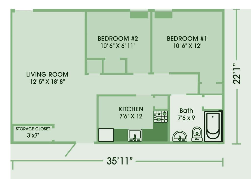 2 Bedroom Burch Building