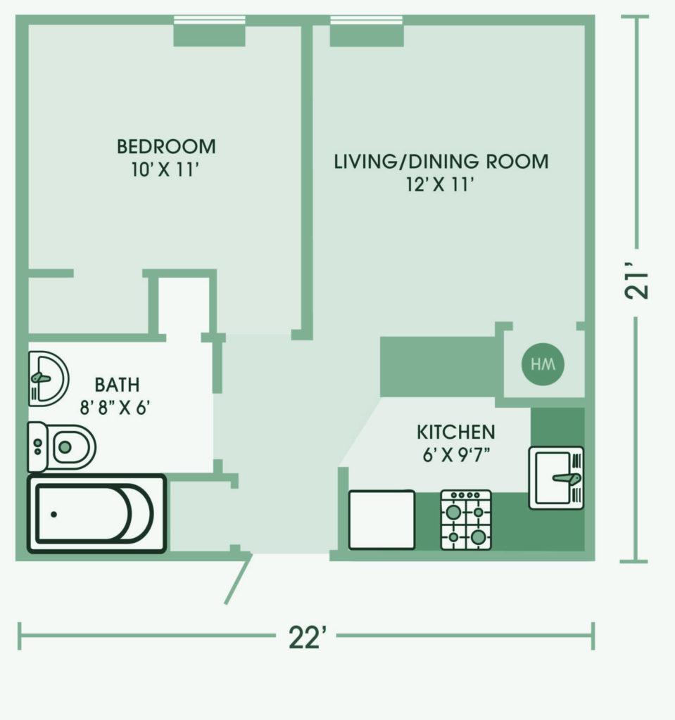 One bedroom apartment at Cedar Lane senior Living Community