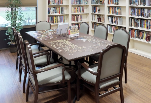 Puzzle Table in the library at Cedar Lane