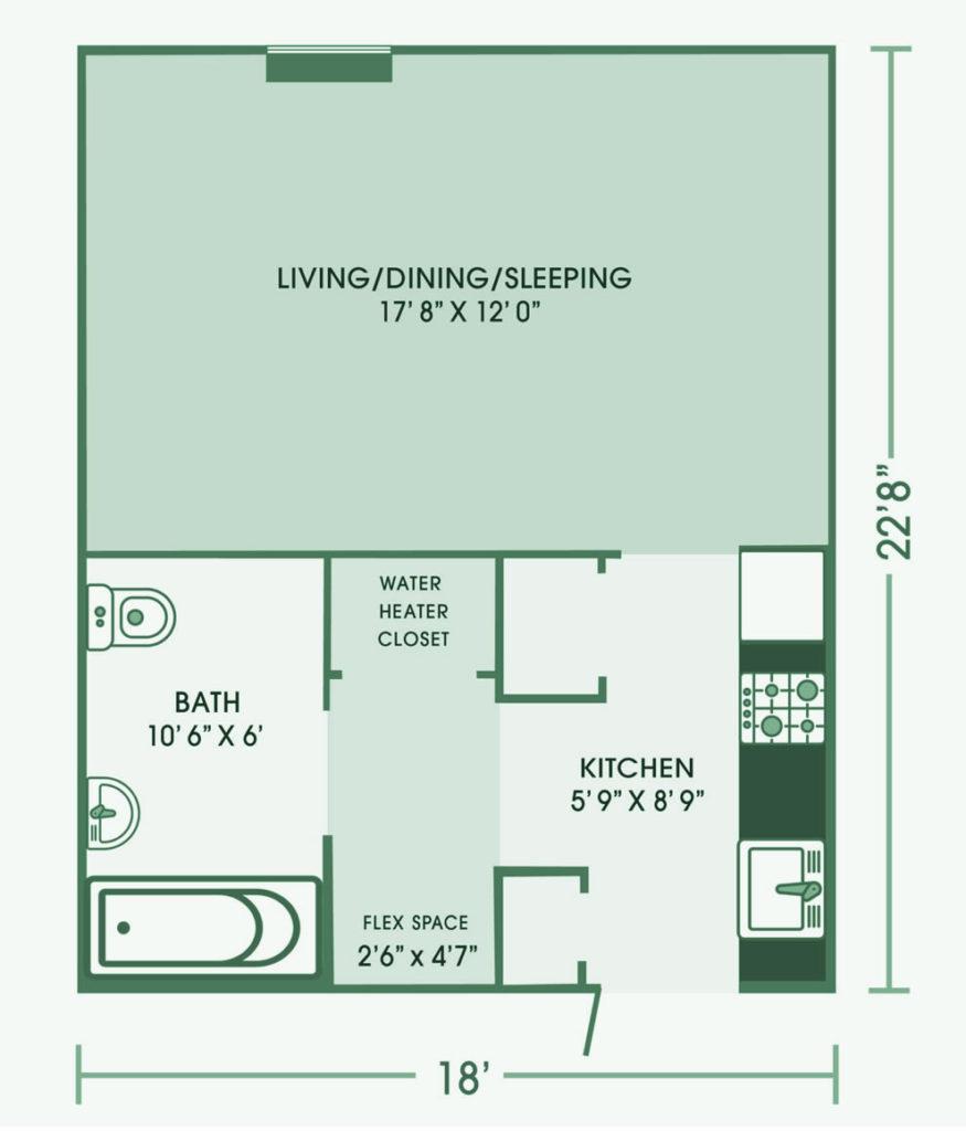 Studio apartment at Cedar Lane Senior Living Community