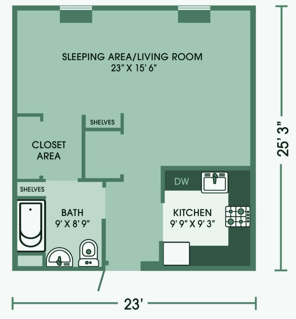 One Bedroom Open plan Cedar Lane Senior Living Community